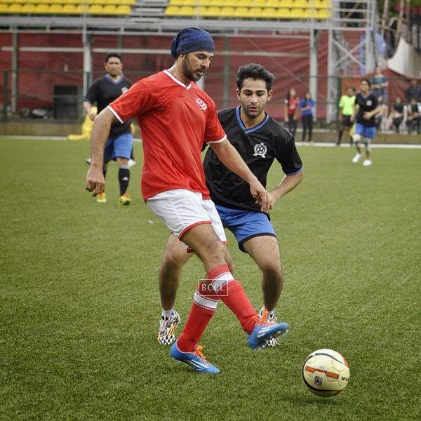 Dino Morea and Armaan Jain during a charity soccer match organised by Aamir's daughter Ira Khan, at Cooperage ground, on July 20, 2014.(Pic: Viral Bhayani)