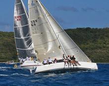 J/100 sailing upwind at St Croix regatta
