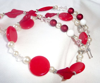 Red Hot Upcycled German Bead Necklace by Myalana