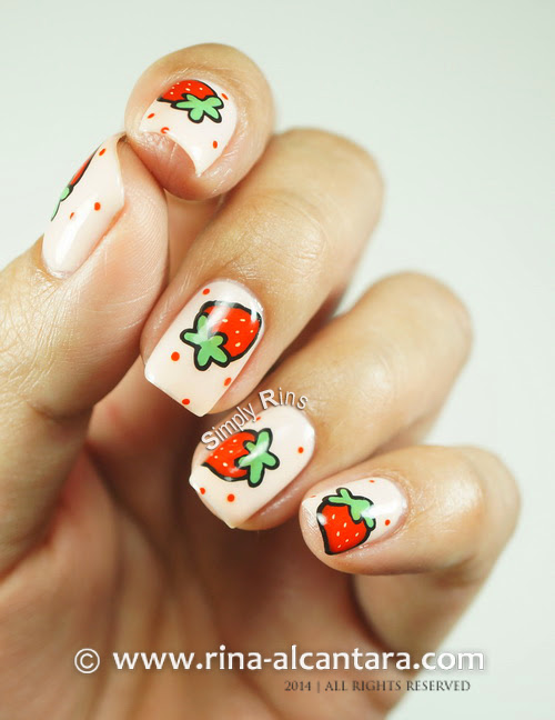 Strawberry and More Strawberries Nail Art Design (Freehand)