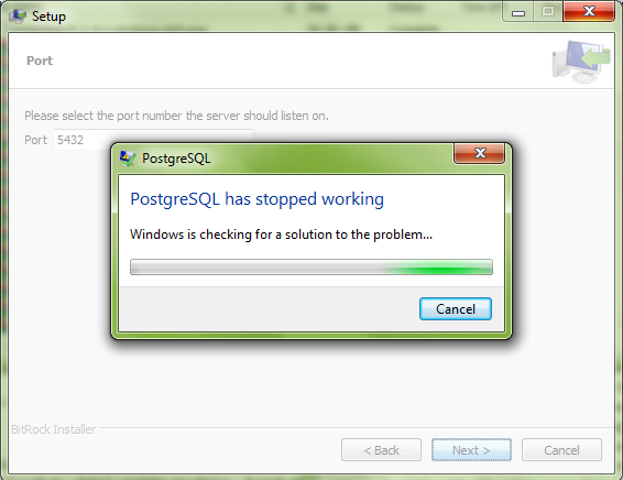 postgresql has stopped working