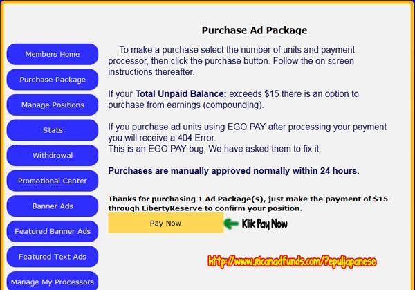 cara membeli Ad Package RicanAdFunds