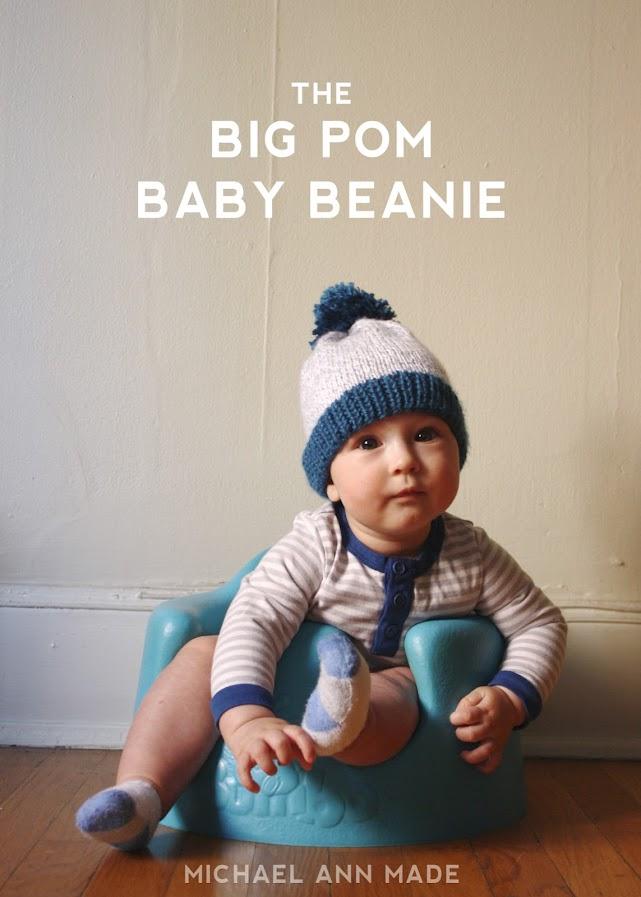64ec9359f78a michael ann made.  big pom baby beanie - free knitting pattern!