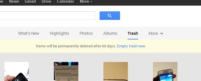 Google+ Photos Trash