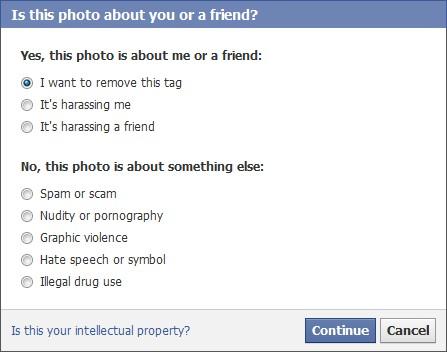 Facebook New Photo Tag Removal Dialog Box