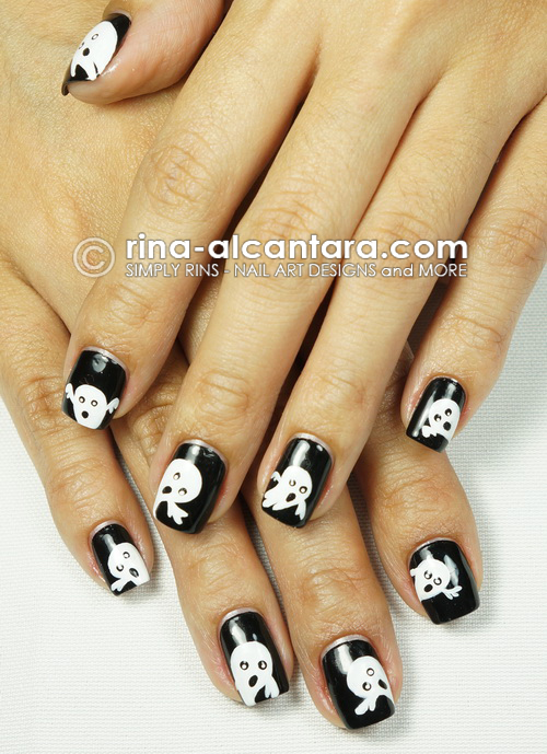 Spooky Ghosts Nail Art by Simply Rins