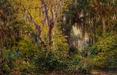 J. Ottis Adams - Landscape with Cypress Trees