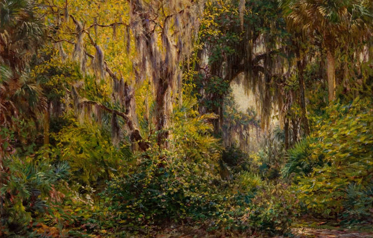 J. Ottis Adams - Landscape with Cypress Trees