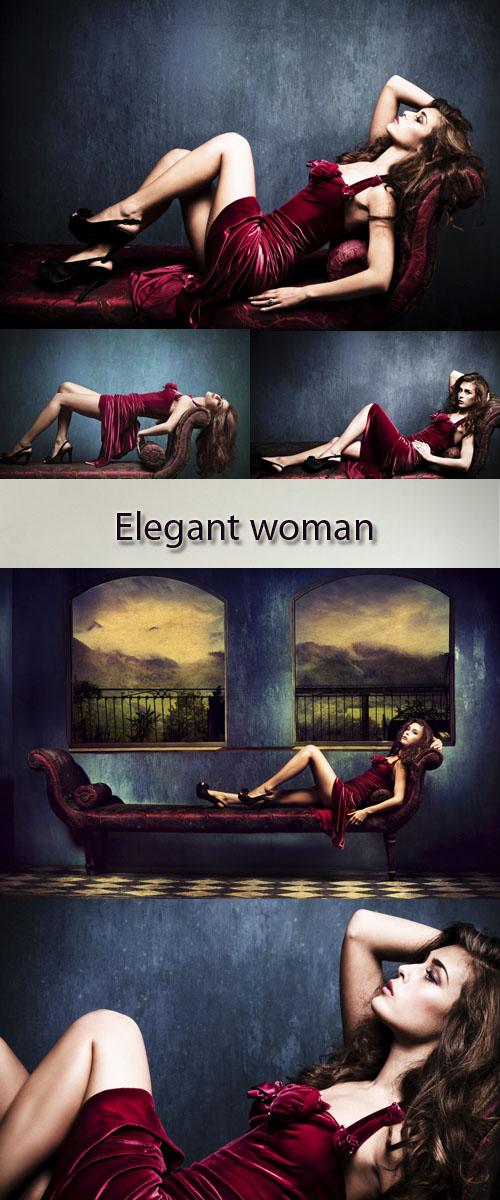 Stock Photo: Elegant woman in red dress