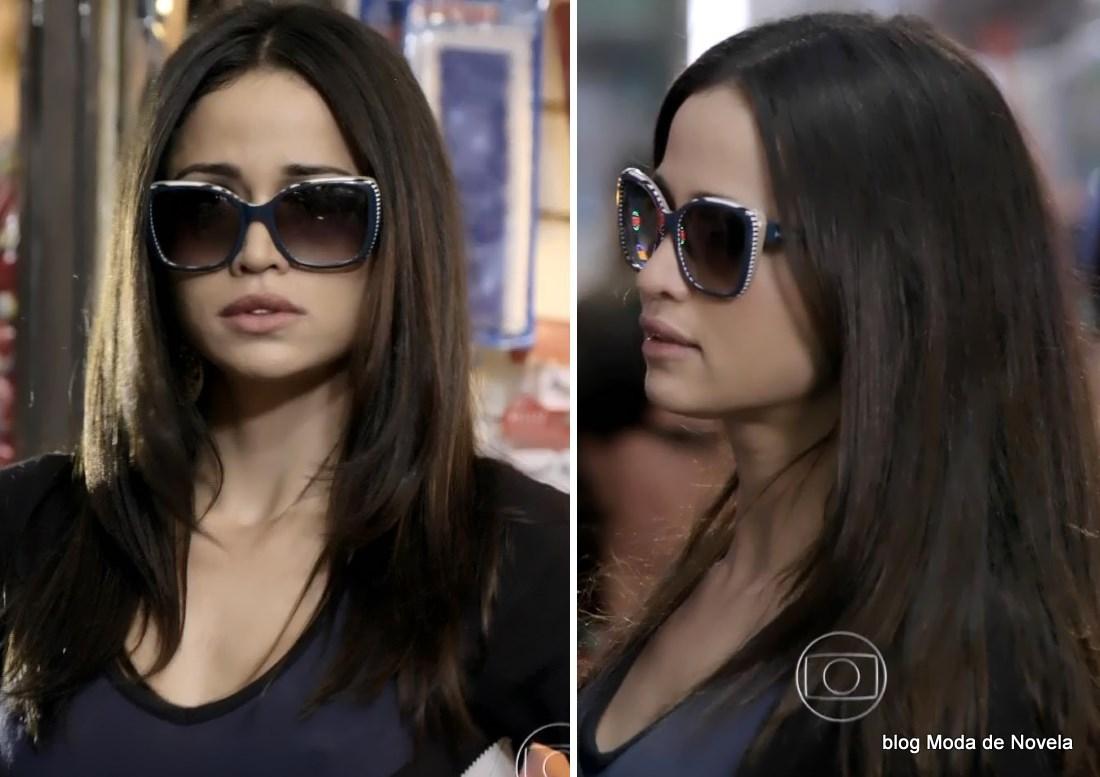 moda da novela Império - óculos da Tuane dia 24 de julho
