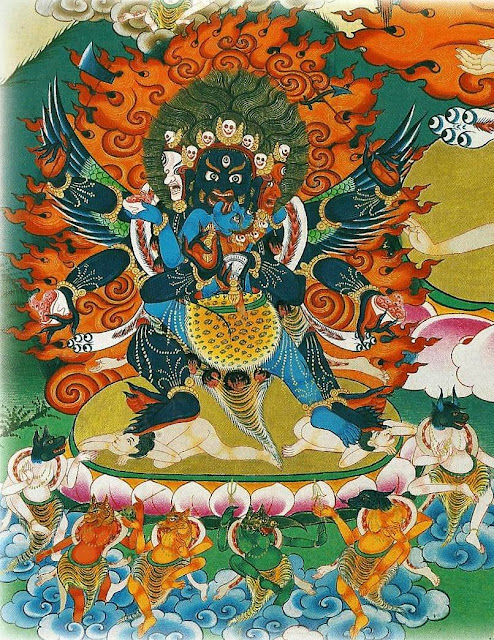 Wrathful deities of the Vajra family. Thangkas painted by Shawu Tsering and photographed by Jill Morley Smith are in the private collection of Gyurme Dorje.