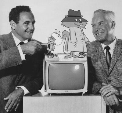 """William Hanna y Joseph Barbera, más conocidos como """"Hanna - Barbera"""" son los """"padres"""" de """"The Flintstones"""". En la foto podemos verlos con los protagonistas de otras dos series suyas """"Atomic Ant"""" (""""La Hormiga Atómica"""") y """"Secret Squirrel"""" (""""El Inspector Ardilla"""")"""