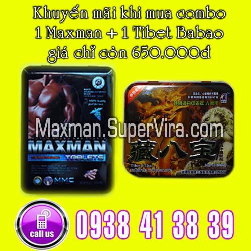 Maxman 3800mg khuyến mãi đặc biệt  Combo 1 Tibet Babao + 1 Maxman giá chỉ còn 650.000đ