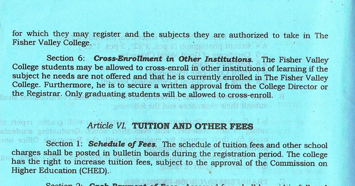 The Fisher Valley College Article VI Tuition And Other Fees