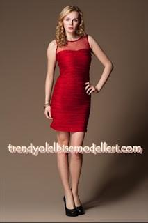 trendyol sandro Üstü Tül Pileli Kırmızı Elbise