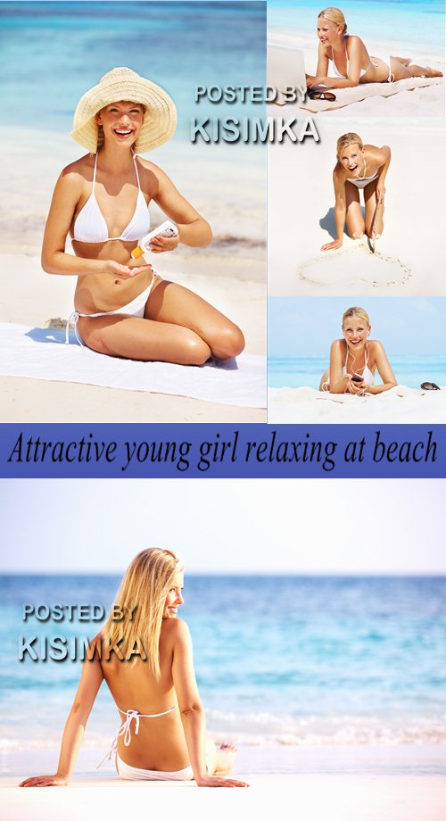 Stock Photo: Attractive young girl relaxing at beach