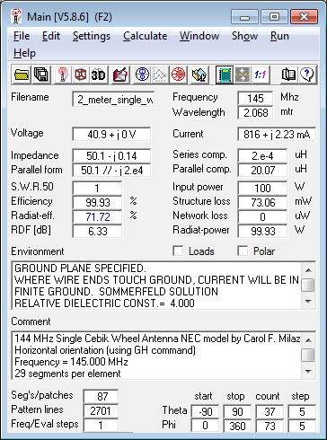 144                     MHz single Cebik Wheel Antenna 4nec2 Calculations.