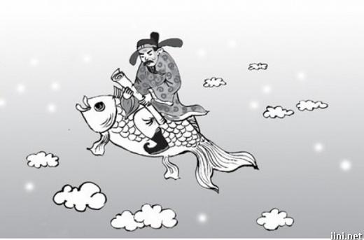 ảnh ông táo cưỡi cá chép chầu trời