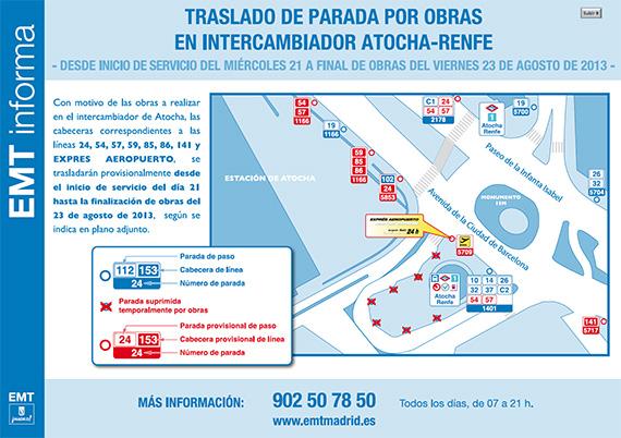 Cambios de líneas de autobuses EMT en Atocha por obras - agosto 2013