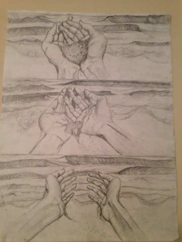 Sand Falling Through Hands Drawing