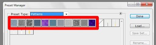 Grupo de texturas nativas do Photoshop estão cercadas de vermelho