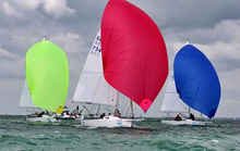 J/80 one-design sailboats- sailing on Solent, England