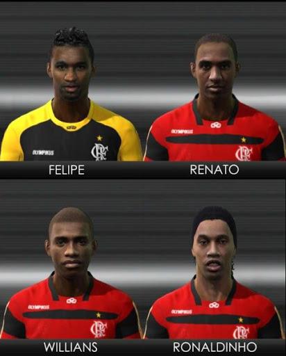 Felipe%252520Renato%252520Willians%252520Ronaldinho PES 2011: Face de Felipe, Renato, Willians e Ronaldinho   Flamengo