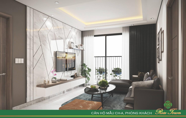 Phòng khách của chung cư Rose Town Ngọc Hồi
