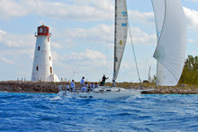 J/120 sailing Miami Nassau Cup Race- sailing past Nassau Light