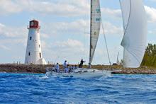 J/120 sailing Miami Nassau Cup Race- sailing past Nassau Light