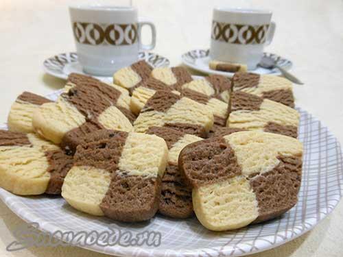 Шоколадно-ванильное печенье(шахматное)
