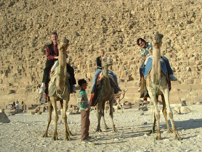 Destin Florida Magician Rick Moore on camel in Egypt