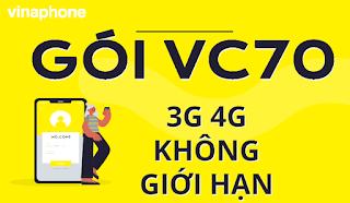 Lên mạng Không giới hạn với Gói VC70 Vinaphone