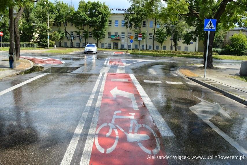 Po dojechaniu do skrzyżowania, rowerzysta dostaje jasny komunikat gdzie ma się ustawić jeśli chce skręcać w lewo. Pozostałe pojazdy skręcają w prawo z prawego pasa.
