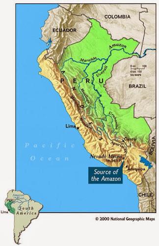 Punto de origen del Amazonas más aceptado. Fuente: National Geographic.