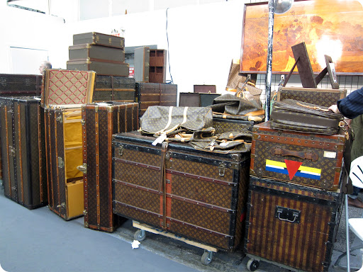A collection of Louis Vuitton luggage.