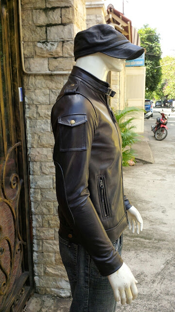 áo khoác da thật màu đen da bò thời trang dành cho nam