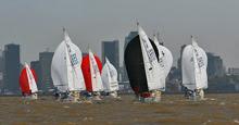 J/24 sailboats- sailing on Rio de la Plata, Buenos Aires, Argentina
