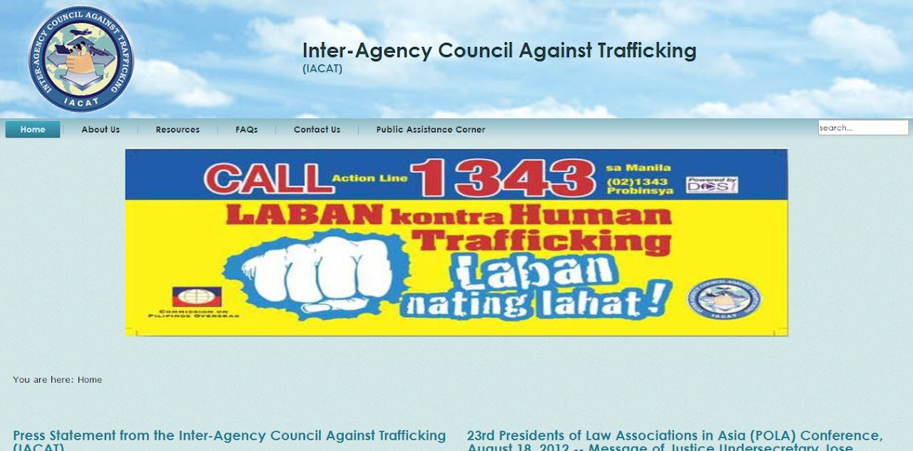 Inter-Agency Council Against Trafficking – official website is up