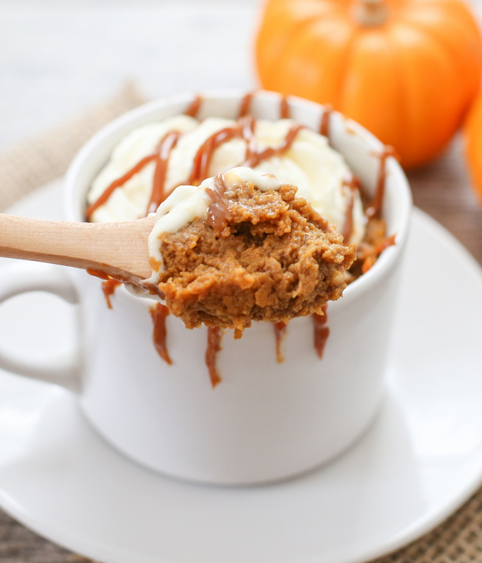 photo of a spoonful of Pumpkin Pie Mug Cake