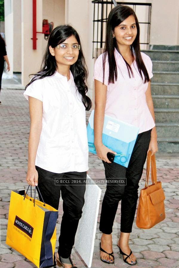 Nimisha (L) and Shruti during a fashion show, held at a Management institute, in the city.