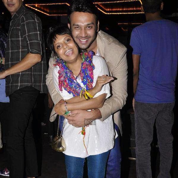 Designer Little Shilpa poses with a friend during the launch party of Shopcade, a social online application for fashion, held at White Owl, on July 10, 2014.(Pic: Viral Bhayani)