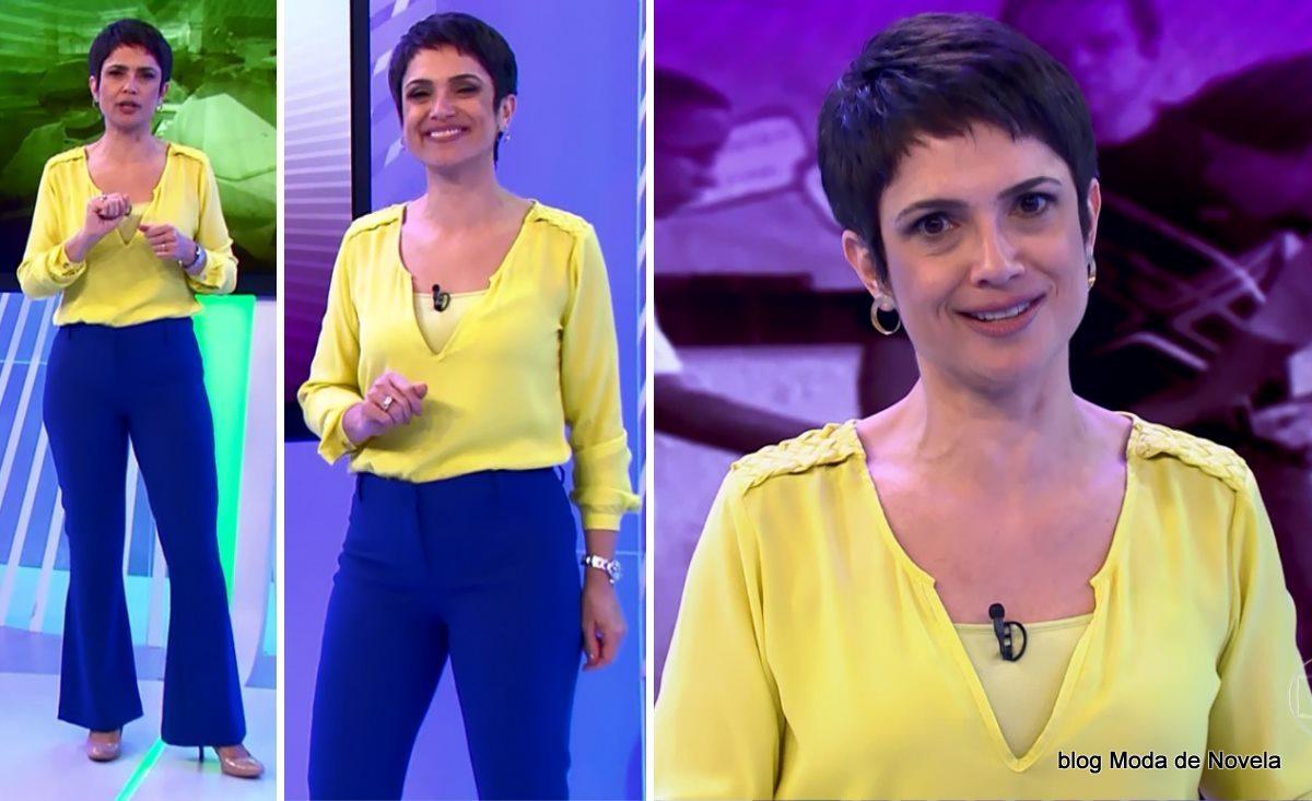 moda do programa Globo Ação - look da Sandra Annenberg dia 7 de junho