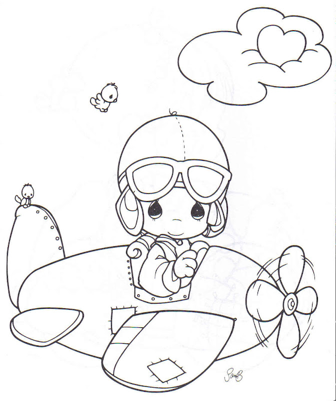 Airplane aviator day precious moments coloring pages for Coloring pages precious moments print
