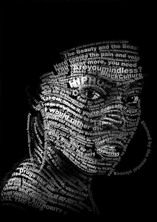 Retratos creados con tipografías