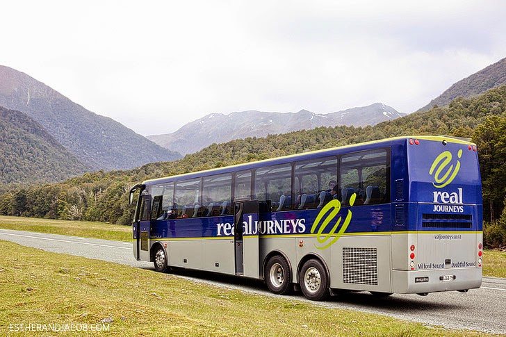 Real Journeys Bus to Milford Sound and Fiordland National Park New Zealand.