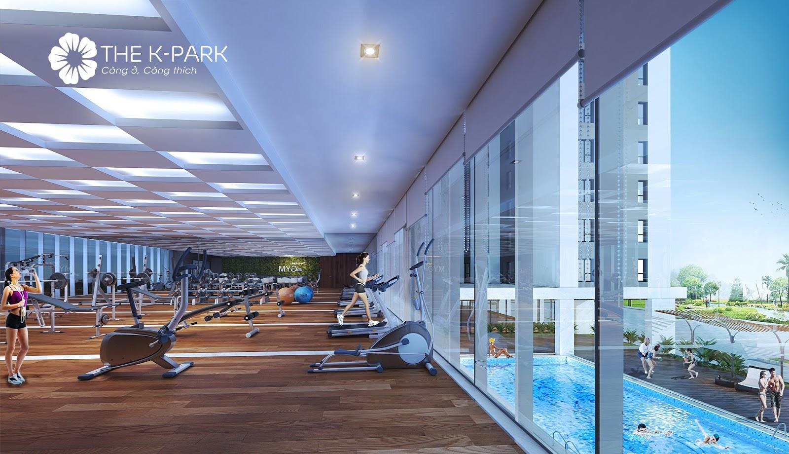 Phòng tập Gym nhìn ra bể bơi tại The K Park Văn Phú