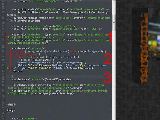 Code HTML et CSS sur Tumblr