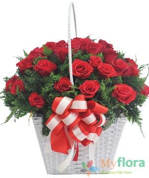 Giỏ hoa tươi HỒNG NHUNG- Hoa tươi MyFlora