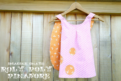 Made with Moxie:Roly-Poly Pinafore pattern review. Reversible pinafore on a hanger.